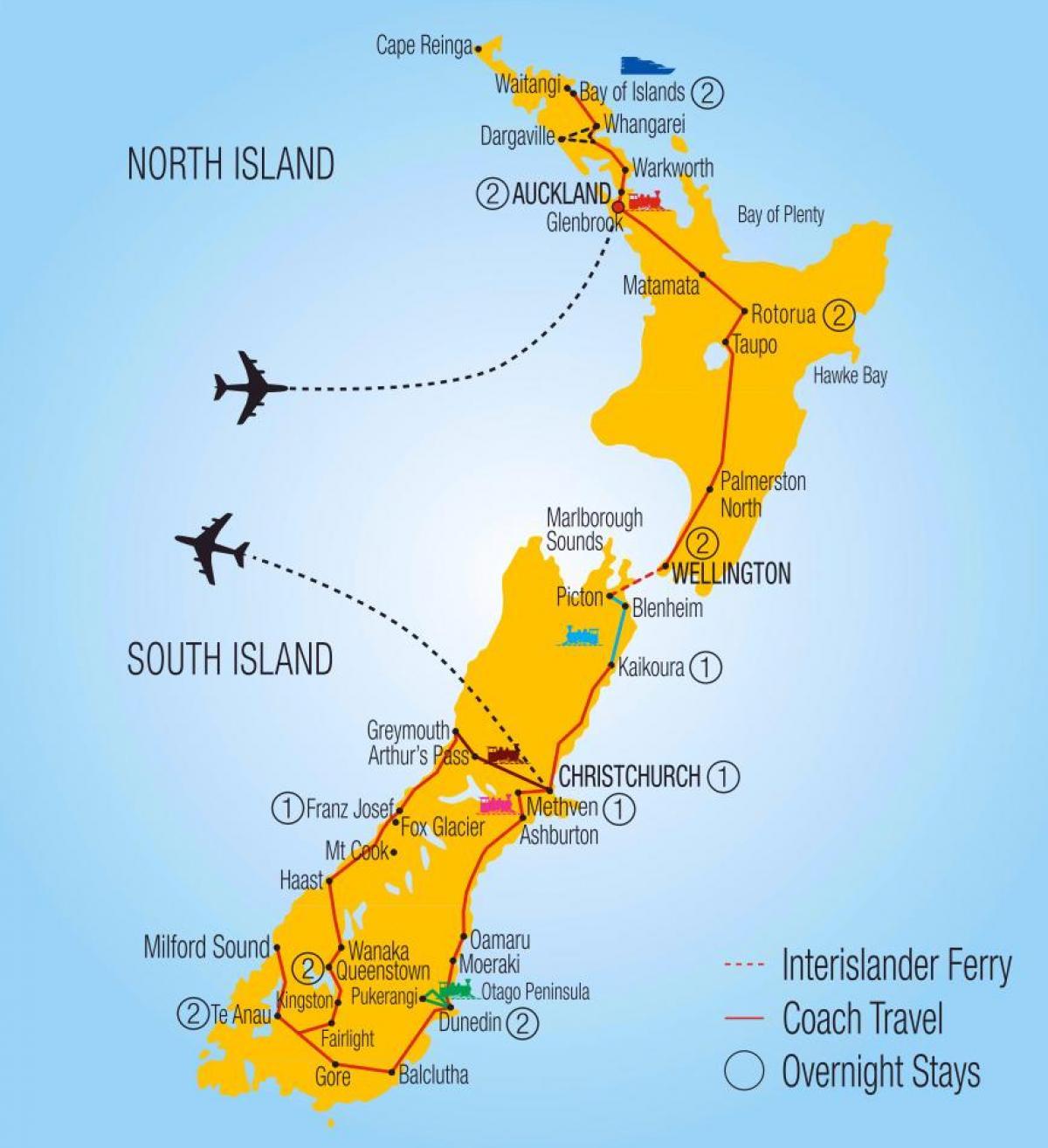 Australia E Nuova Zelanda Cartina.Nuova Zelanda Ferroviaria Sulla Mappa Mappa Della Nuova Zelanda