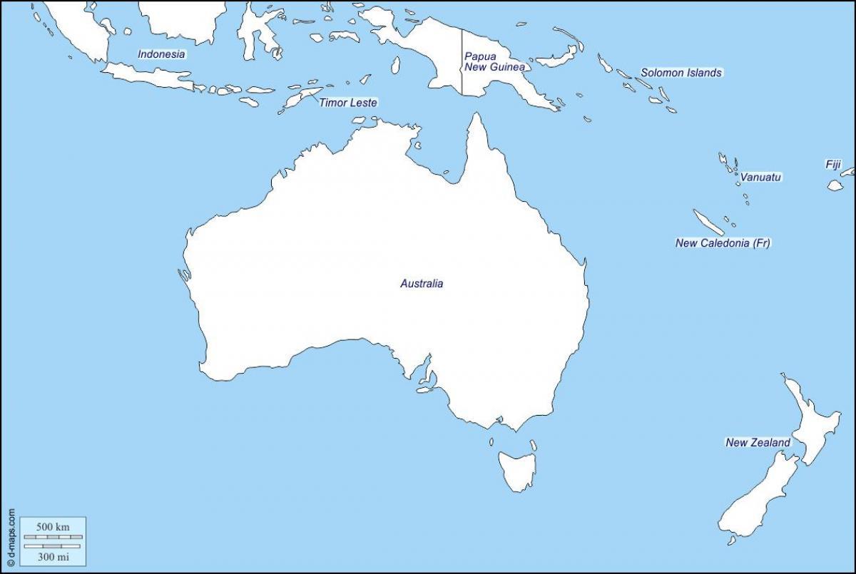 Australia E Nuova Zelanda Cartina.Nuova Zelanda Mappa Del Contorno Contorno Mappa Australia E