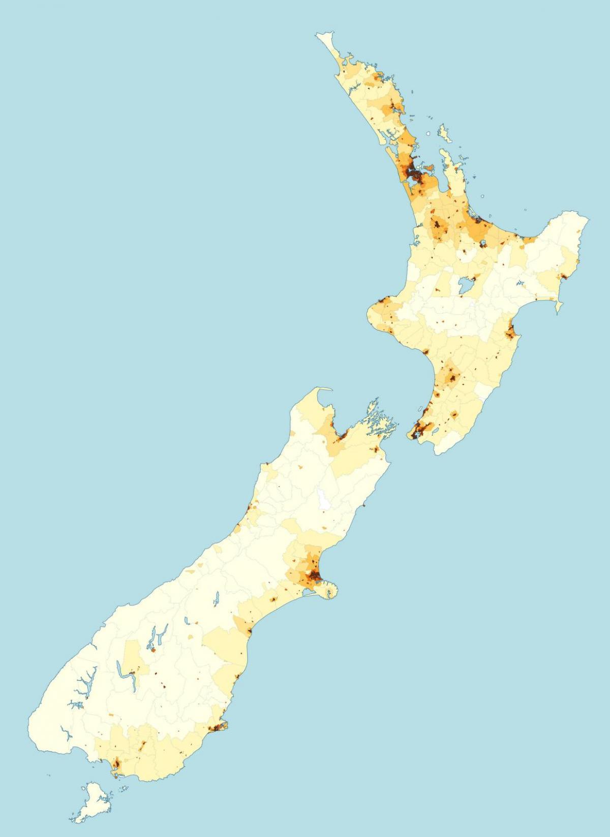 Cartina Nuova Zelanda.Popolazione Della Nuova Zelanda Mappa Nuova Zelanda Densita Di Popolazione Mappa Australia E Nuova Zelanda Oceania